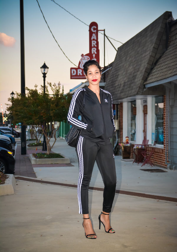 Adidas Track Suit + Heels